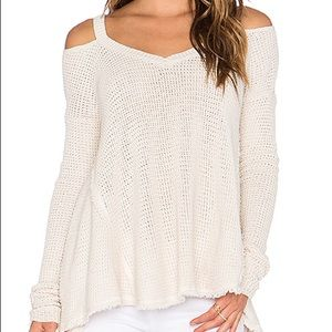 Free People Moonshine Cream Cold Shoulder Sweater